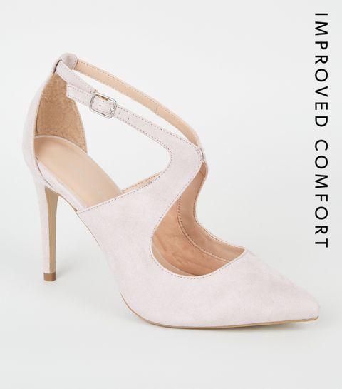 11a6e282a2ef ... Lilac Suedette Cut Out Heel Court Shoes ...