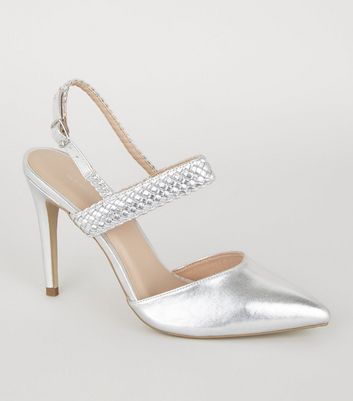 Silver Woven Strap 2 Part Court Shoes