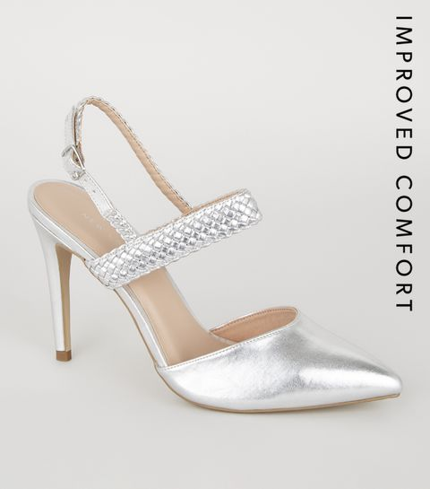 ce1882326bd9 ... Silver Woven Strap 2 Part Court Shoes ...