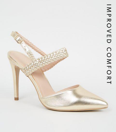 c08686536b3a9e ... Gold Woven Strap 2 Part Court Shoes ...