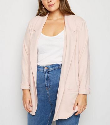 Curves Pale Pink 3/4 Sleeve Blazer