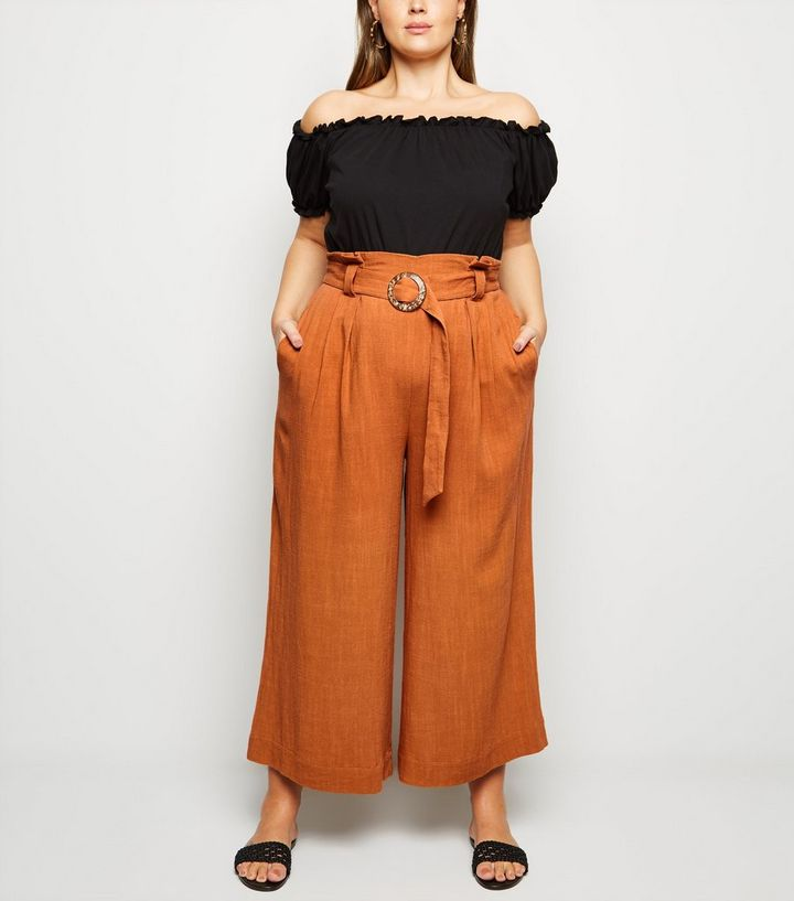 9fe1f226 Curves Orange Linen Look Buckle Crop Trousers | New Look