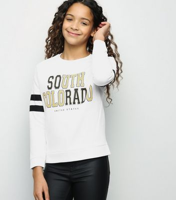 Girls White South Colorado Slogan Sweatshirt