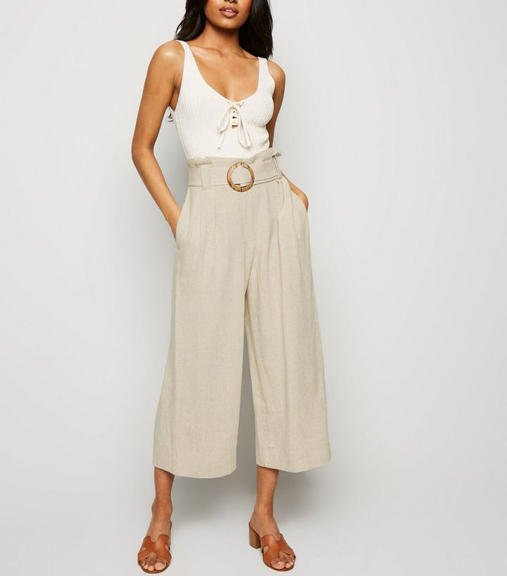 latest selection of 2019 many choices of high quality Petite Stone Linen Look Crop Trousers Add to Saved Items Remove from Saved  Items