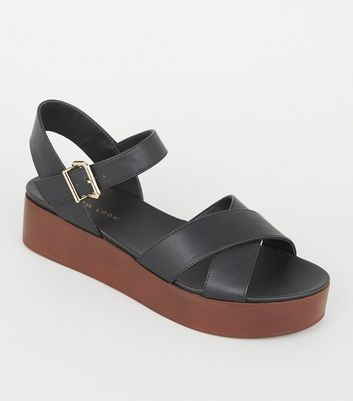 Black Leather-Look Wood Flatform Sandals