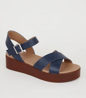 Navy Leather-Look Wood Flatform Sandals