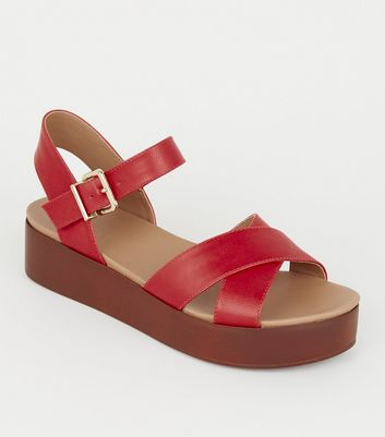 Red Leather-Look Wood Flatform Footbed Sandals