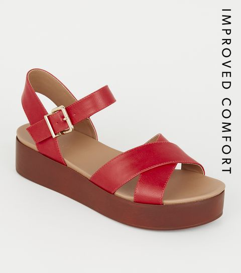 c6409ff4c52 ... Red Leather-Look Wood Flatform Footbed Sandals ...