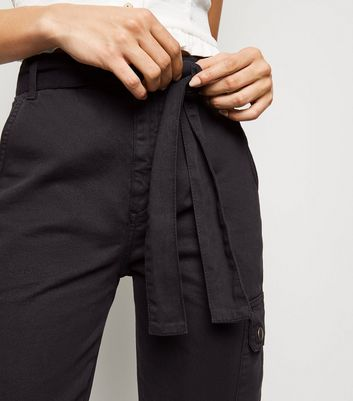 Black Tie Waist Denim Utility Joggers New Look