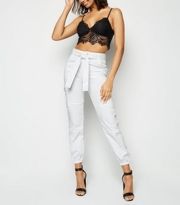White Tie Waist Denim Utility Trousers