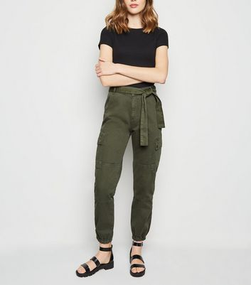 Khaki Tie Waist Denim Utility Trousers