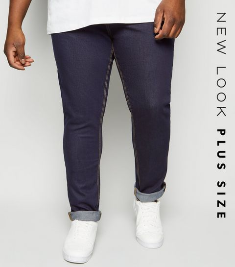 51fa262d6be6 ... Plus Size Navy Rinse Wash Skinny Stretch Jeans ...