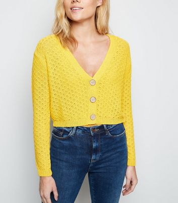 Mustard Pointelle Cropped Cardigan