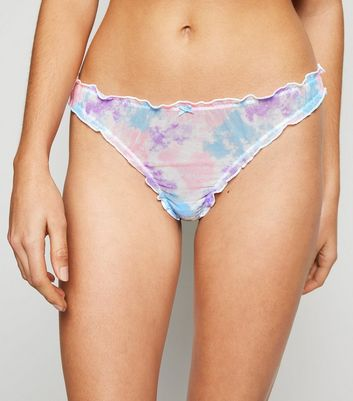 Multicoloured Tie Dye Frill Trim Thong