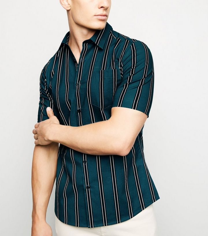 20004fb9436 Green Vertical Stripe Muscle Fit Short Sleeve Shirt Add to Saved Items  Remove from Saved Items