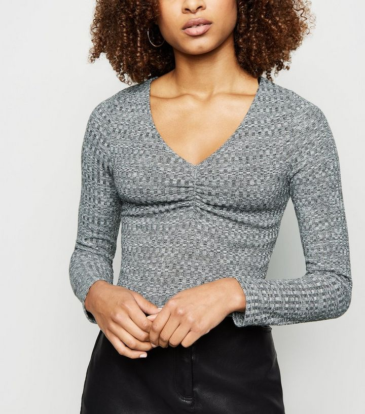 6a7f092face Grey Marl Ruched Square Neck Crop Top | New Look