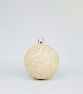 Stone Woven Straw Effect Orb Cross Body Bag