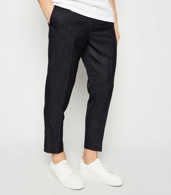 Navy Elasticated Textured Trousers