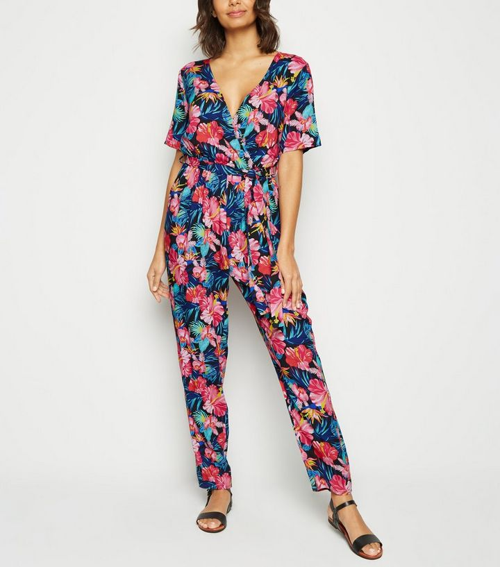 search for official customers first fashion style Mela Black Tropical Floral Short Sleeve Jumpsuit Add to Saved Items Remove  from Saved Items