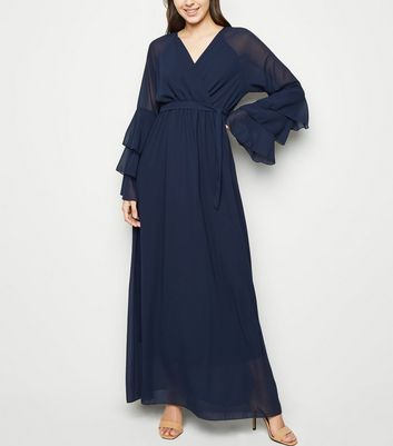 Mela Navy Chiffon Tiered Sleeve Maxi Dress by New Look