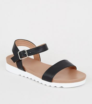 Girls Black Leather-Look Sporty Sandals