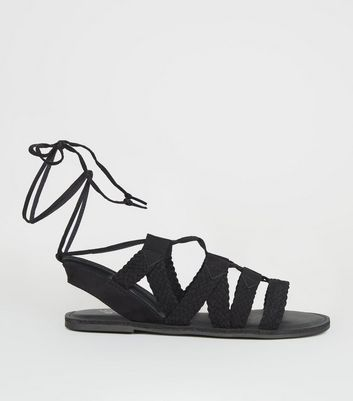 Girls Black Woven Lace Up Ghillie Sandals
