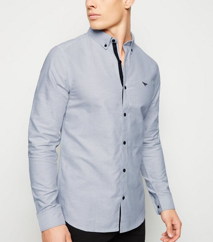 f3006f90a20 Pale Grey Embroidered Long Sleeve Oxford Shirt   New Look