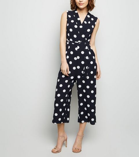 f2b4259ddd ... AX Paris Navy Polka Dot Wrap Jumpsuit ...