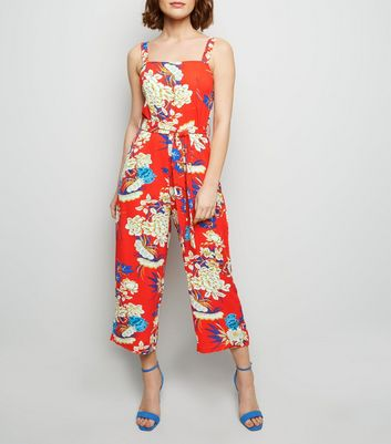 AX Paris Red Floral Culotte Jumpsuit
