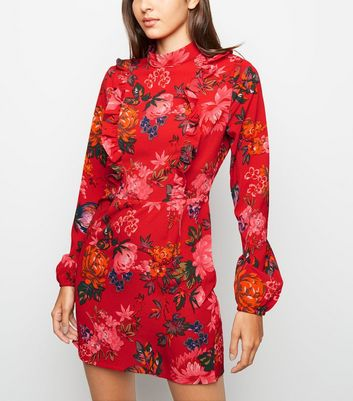 AX Paris Red Floral Print Frill Front Dress