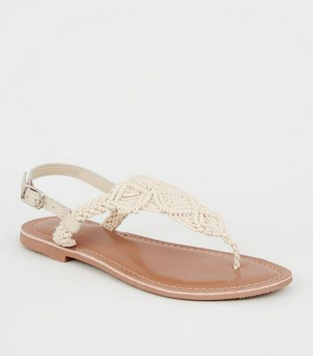 Girls Off White Leather Woven Flat Sandals