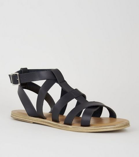 f4fdebbeb ... Girls Black Leather-Look Gladiator Sandals ...