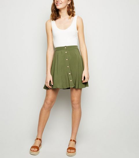 d30b85cfc2533 ... Khaki Button Up Mini Skirt ...