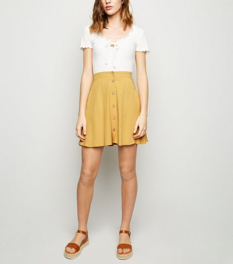 0d36a35b5a6 ... Mustard Button Up Mini Skirt ...