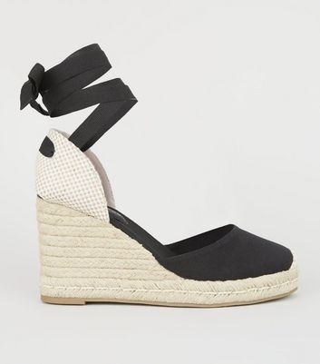 Black Ribbon Tie Espadrille Wedge Heels
