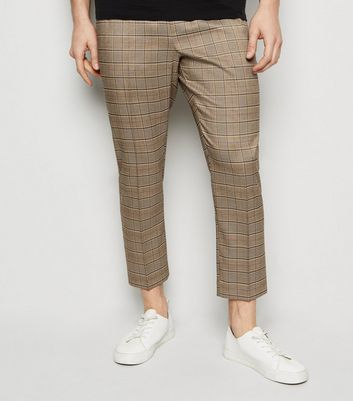 Brown Check Print Trousers