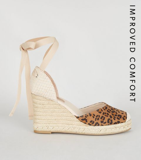 a8c9e6487ffc ... Stone Leopard Print Ankle Tie Wedges ...