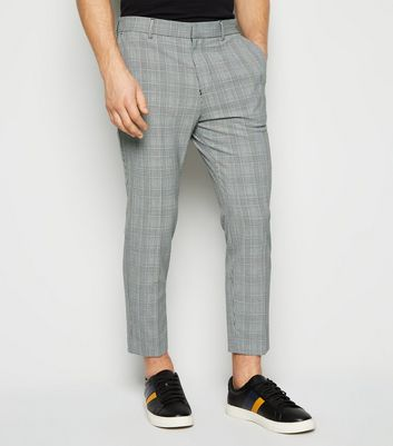 Light Grey Check Skinny Crop Trousers