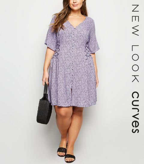 cf9afdd7fa507 ... Curves - Robe violette à imprimé petites fleurs à laçage sur le côté ...
