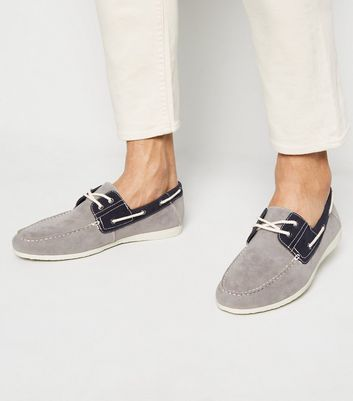 Grey Suedette Colour Block Boat Shoes