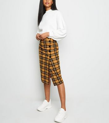 Yellow Check Button Side Pencil Skirt