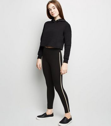 Girls Black Tape Side Stripe Leggings