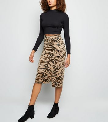 Brown Tiger Print Button Side Pencil Skirt