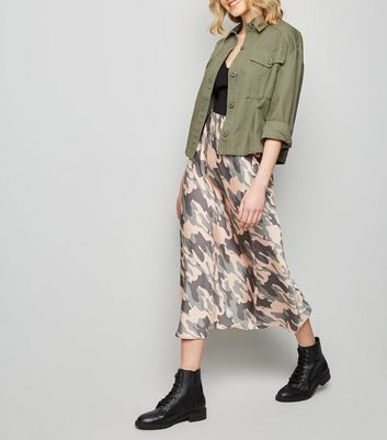Green Camo Bias Cut Satin Midi Skirt
