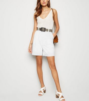 White Belted City Shorts