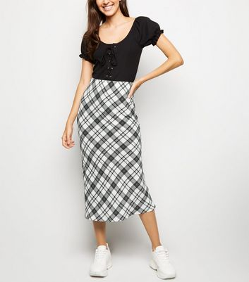 White Check Bias Cut Midi Skirt