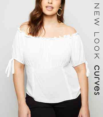 Curves White Shirred Bardot Top
