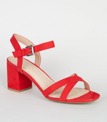 Red Comfort Flex Suedette Cross Strap Heels