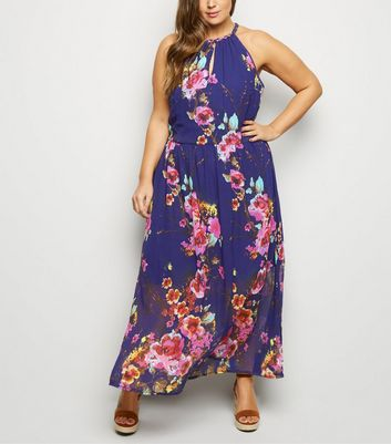 Blue Vanilla Curves Blue Floral Halterneck Dress