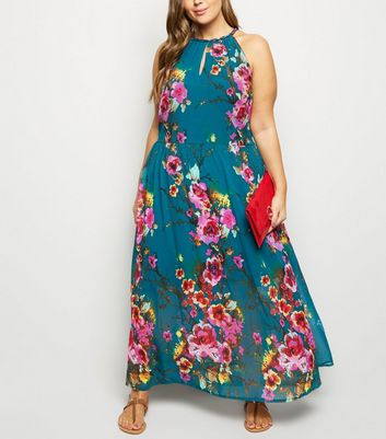 Blue Vanilla Curves Green Floral Halterneck Dress